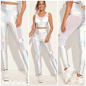 Pants - Womens Holographic Reflective Mesh Biker Legging